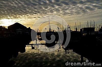 Sunrise in the Ocean Harbor