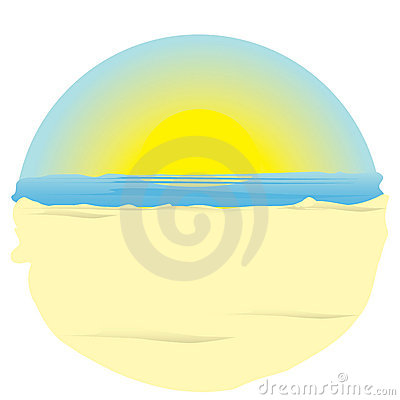 Sunrise on ocean. illustration.