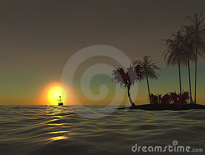 Sunrise at ocean. Lonely island. 3D.