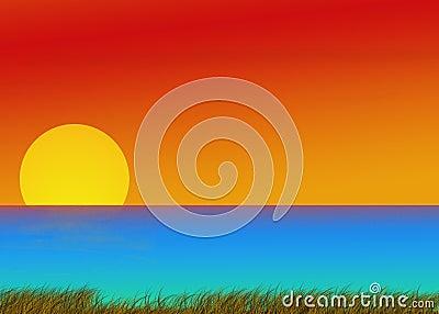 Sunrise at the ocean shore