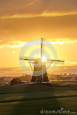 Free Sunrise On The Dutch Windmill Stock Images - 115364924