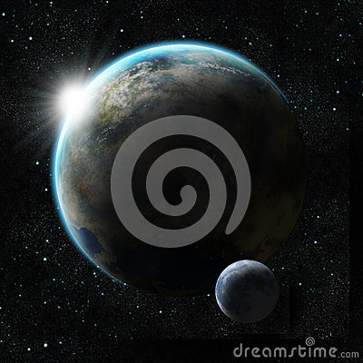Free Sunrise Over A Planet With Moon Royalty Free Stock Photography - 27219687