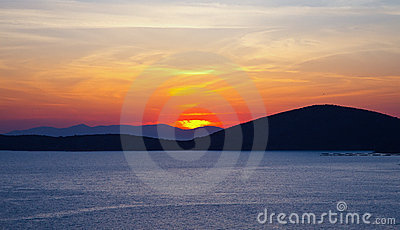 Sunrise over Aegean sea