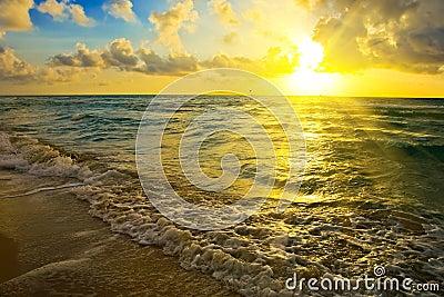 Sunrise over Atlantic ocean coast