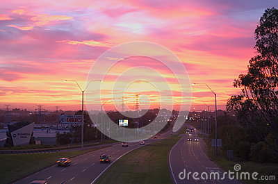 Sunrise over Australian freeway Editorial Photo