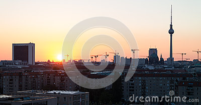 Sunrise over Berlin. Editorial Stock Photo