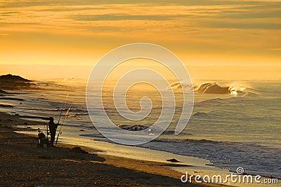 Sunrise over Californian ocean coast