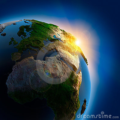 Sunrise over the Earth in outer