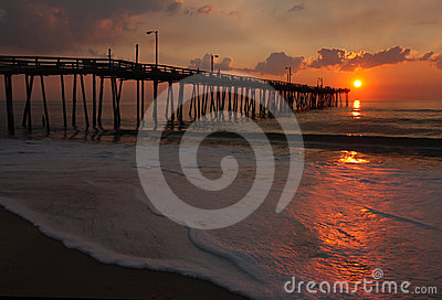 Sunrise over a fishing pier in North Carolina