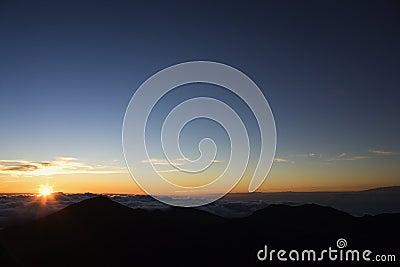 Sunrise over Haleakala Park.