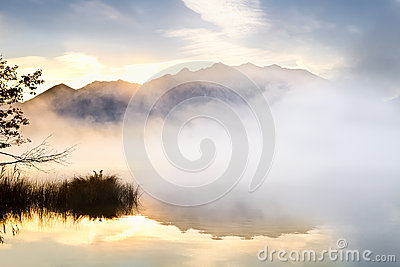 Sunrise over high Alps