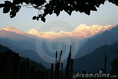 Sunrise over Himalayan mountains