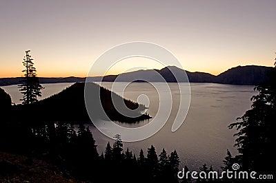 Sunrise over lake Stock Photo