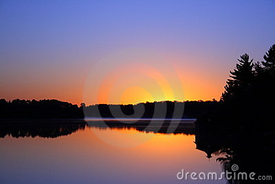 Sunrise over lake