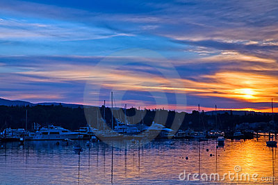 Sunrise over Maine harbor