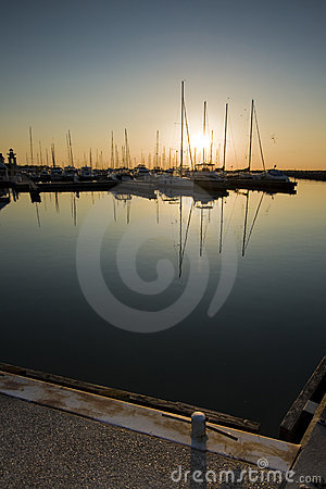 Sunrise over marina