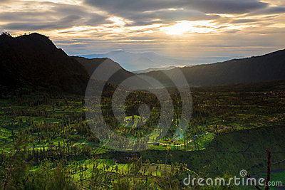 Sunrise over mountain East Java, Indonesia