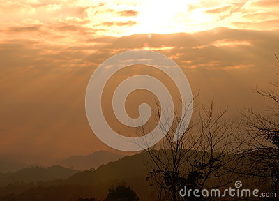 Sunrise over mountain in Huaynamdang National park