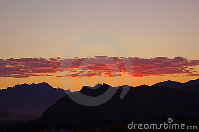 Sunrise over mountain range