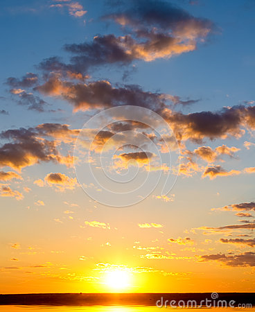 Sunrise over ocean.