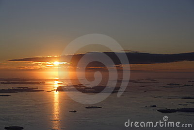 Sunrise over ocean ice floe