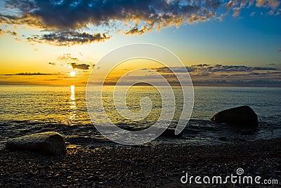 Sunrise over the ocean at ruegen island