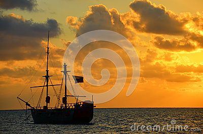 Sunrise over a Pirate Ship