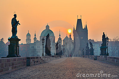 Sunrise over Prague, look from Charles Bridge