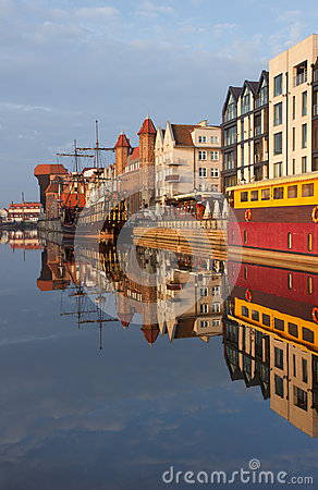 Sunrise over the river Motlawa the Old Town in Gdansk, Poland