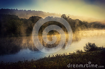 Sunrise over river Neris