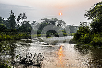 Sunrise on river in Uganda
