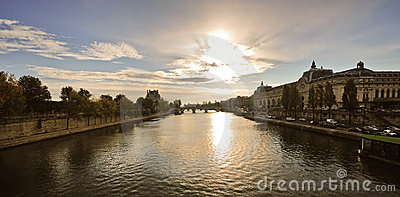 Sunrise over the Seine river, Paris