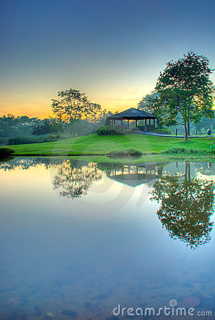 Sunrise Over Still Lake