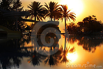 Sunrise over swimming pool