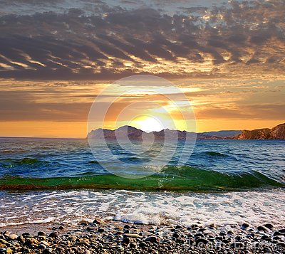 Free Sunrise Over The Black Sea, Eastern Crimea Stock Image - 129854791