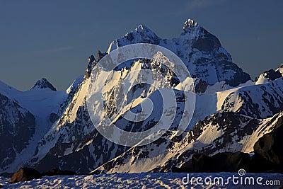 Sunrise over Ushba Peaks