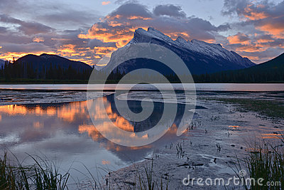 Sunrise over Vermilion Lake and Mount Rundle