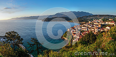 Sunrise over the village of Lastres, Asturias