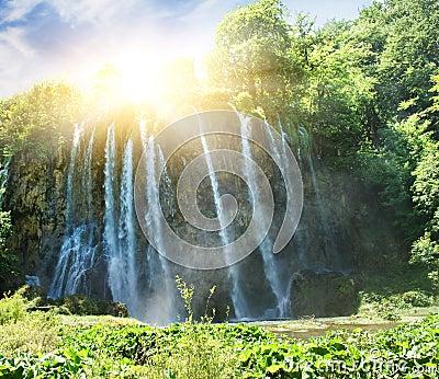 Sunrise over waterfall