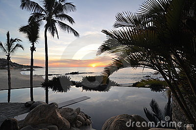 Sunrise at Pool in Los Cabos Mexico