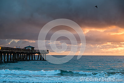 Sunrise With A Rain Over Ocean. Royalty Free Stock Images - Image: 29378359