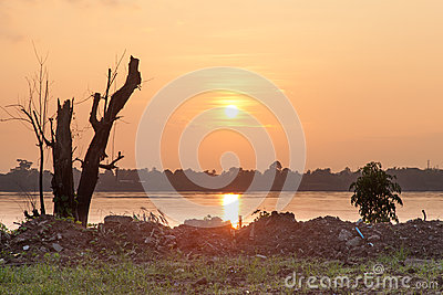 Sunrise at the river bank