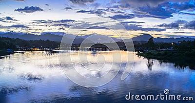 Sunrise in the river of Sanklaburi, Thailand