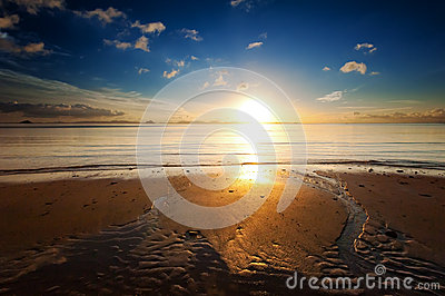 Sunrise sea beach sky landscape. Beautiful sun light reflection