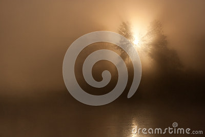 Sunrise Sun Mist Lake