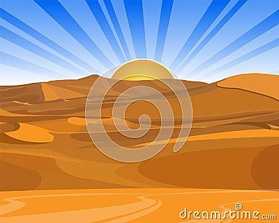 Sunrise (sunset) in desert