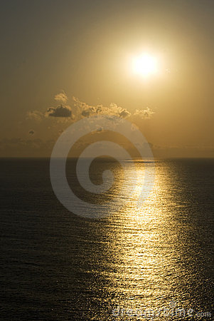 Sunrise or sunset over sea