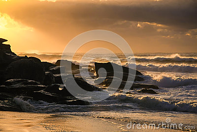 Sunrise and surf at the beach