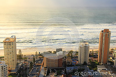 Sunrise in Surfers Paradise aerial image Editorial Stock Image