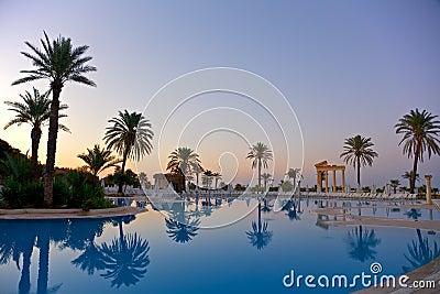 Sunrise on swimming pool